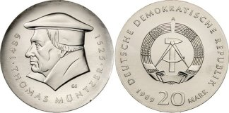 Another East German coin, marking what was presumed to be the 500th anniversary of Müntzer's birth.
