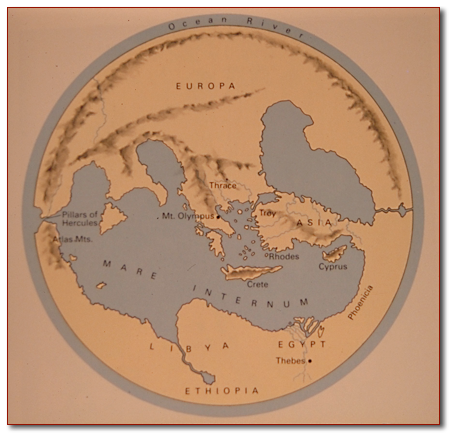 Map of the world of the poet Homer -- note that Mount Olympus is at the center of the earth, the axis of the world.